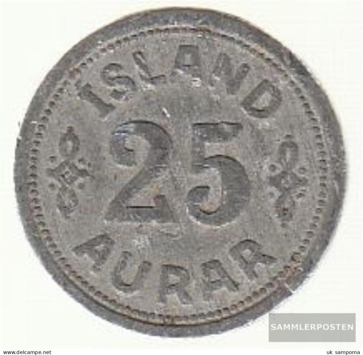 Iceland Km-number. : 2 1942 Very Fine Zinc Very Fine 1942 25 Aurar Gekröntes Crest - Iceland