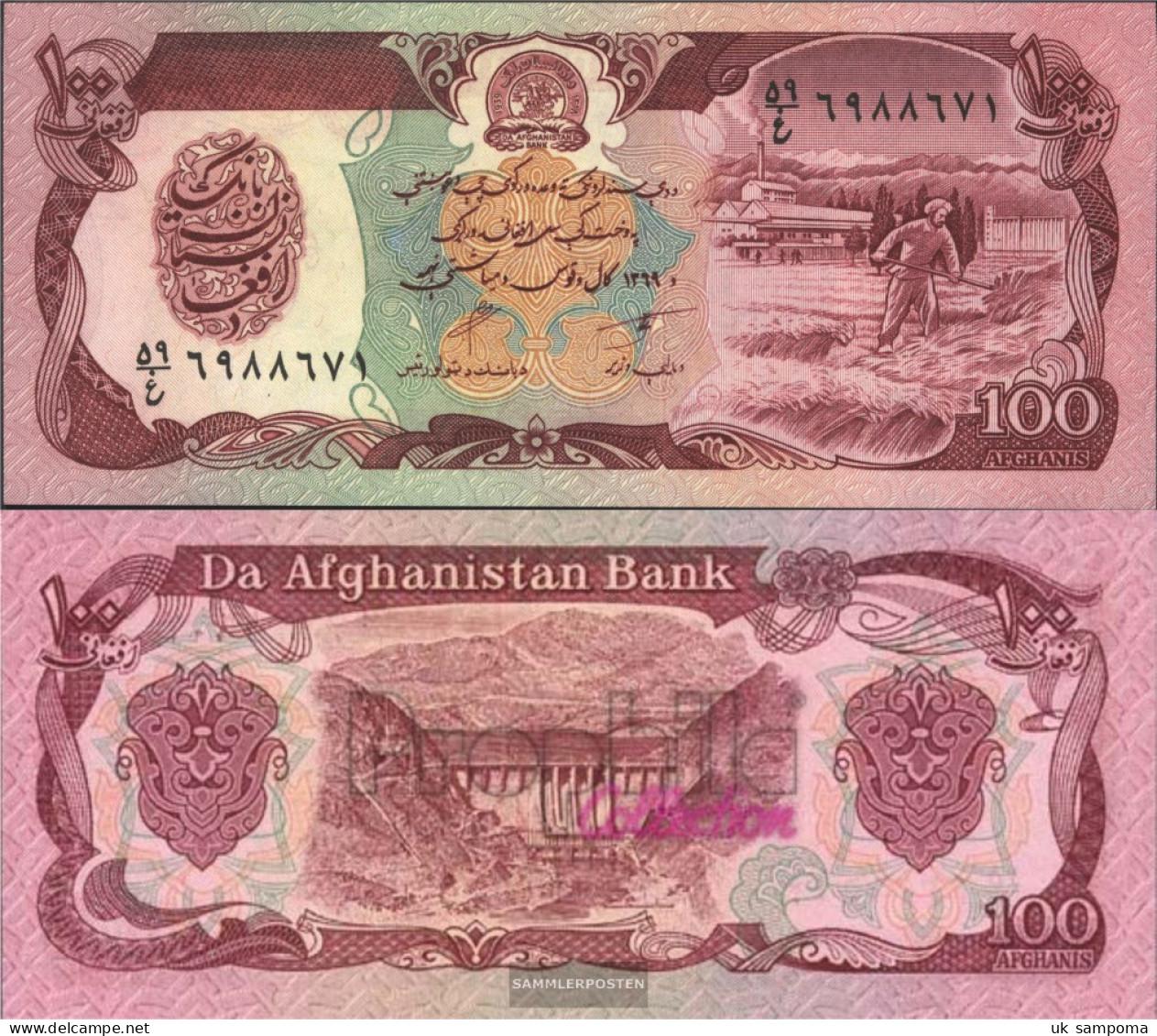 Afghanistan Pick-number: 58b Uncirculated 1990 100 Afghanis - Afghanistan