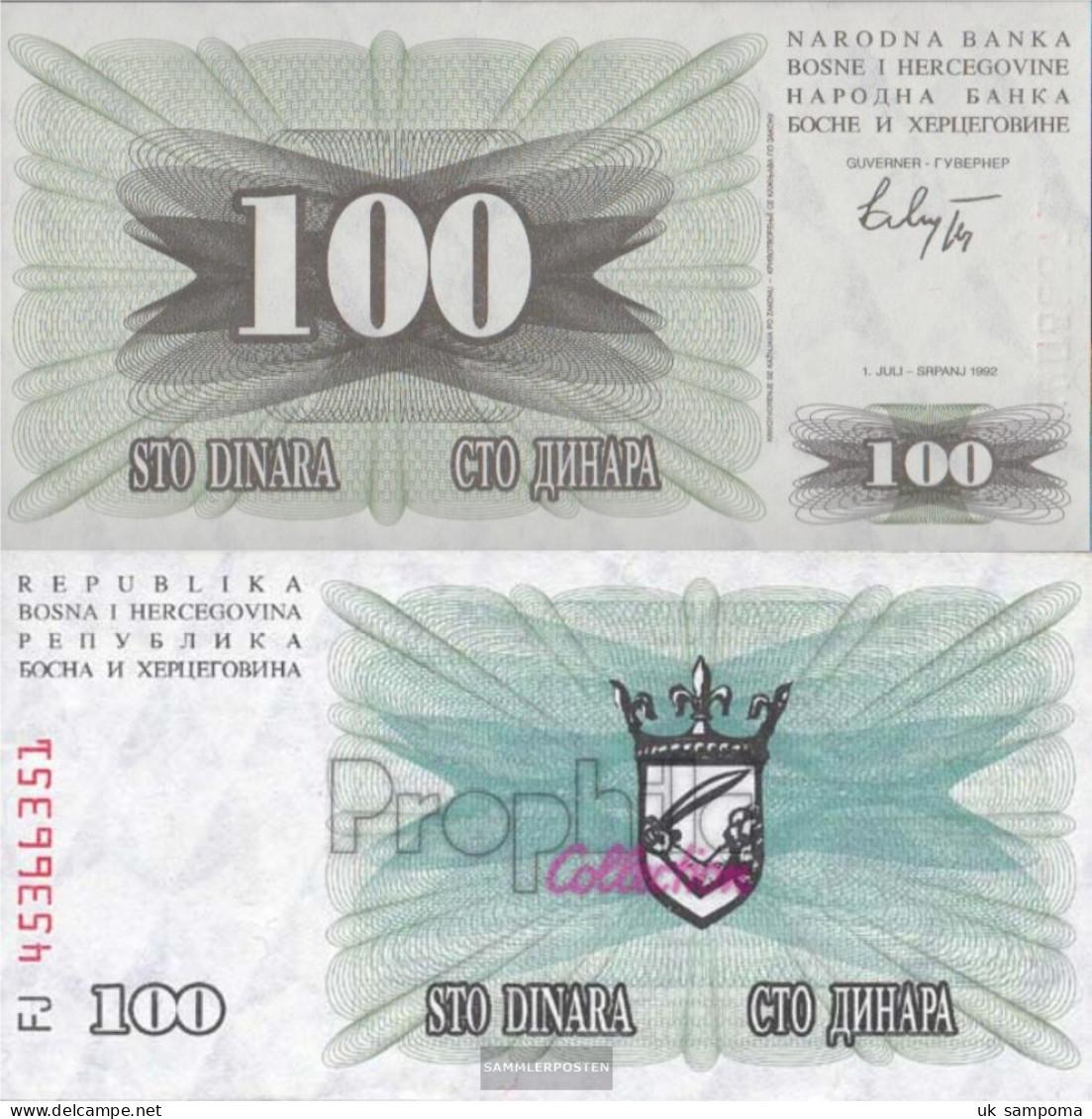 Bosnia-Herzegovina Pick-number: 13a Uncirculated 1992 100 Dinara - Bosnia And Herzegovina