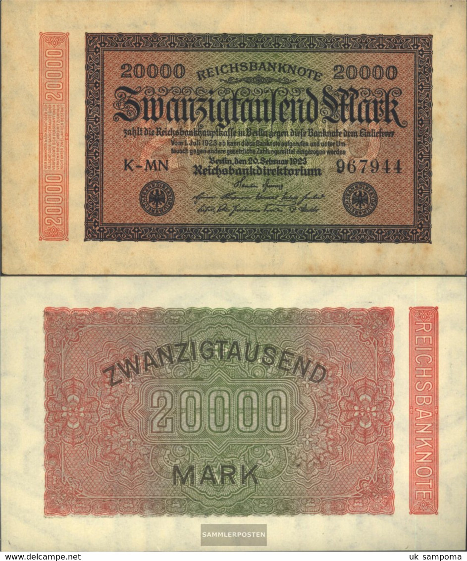 German Empire RosbgNr: 84e, Watermark Hakensterne 6stellige Kontrollnummer Uncirculated 1923 20.000 Mark - [ 3] 1918-1933 : Weimar Republic