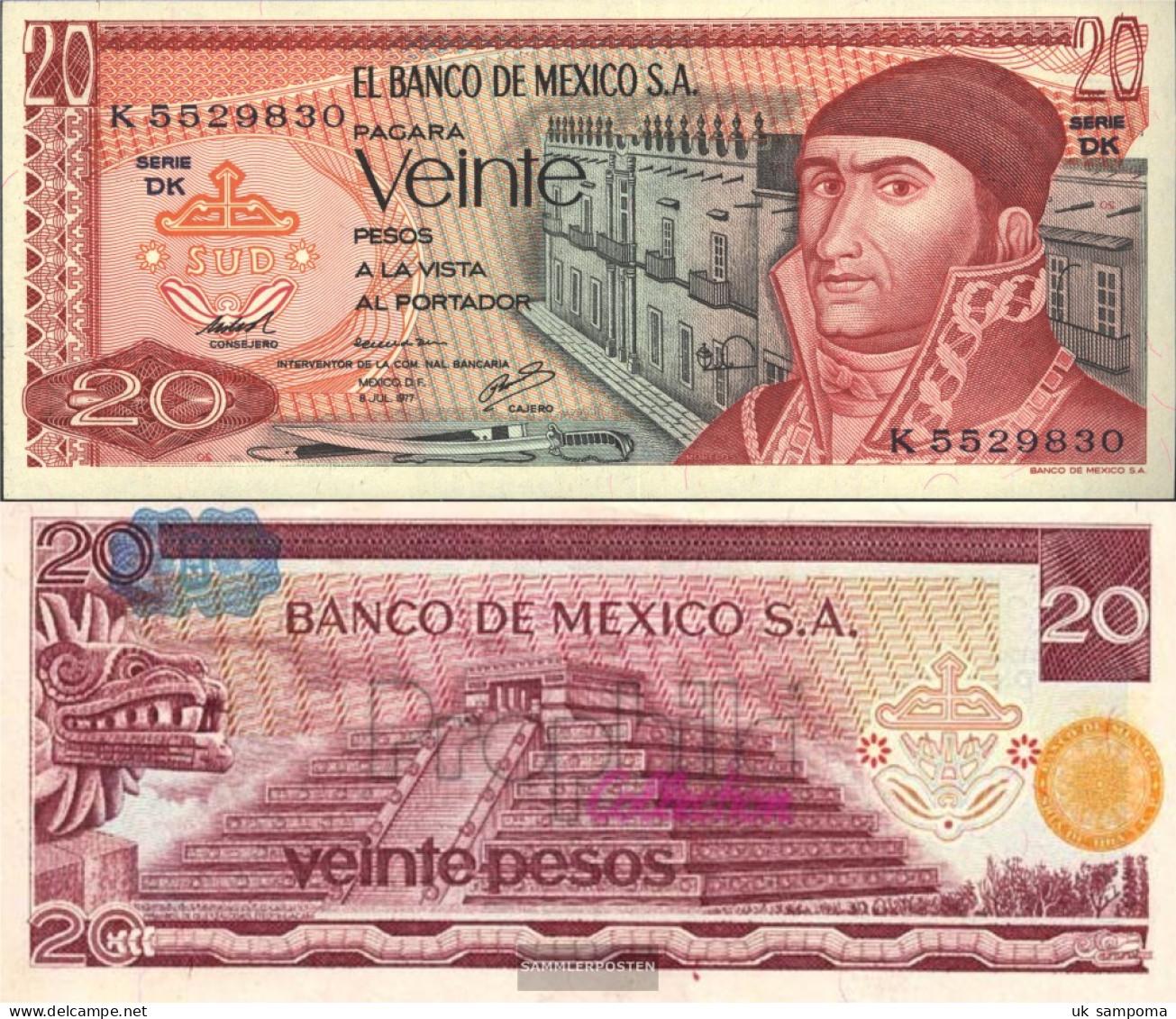 Mexico Pick-number: 64d Uncirculated 1977 20 Pesos - Mexique