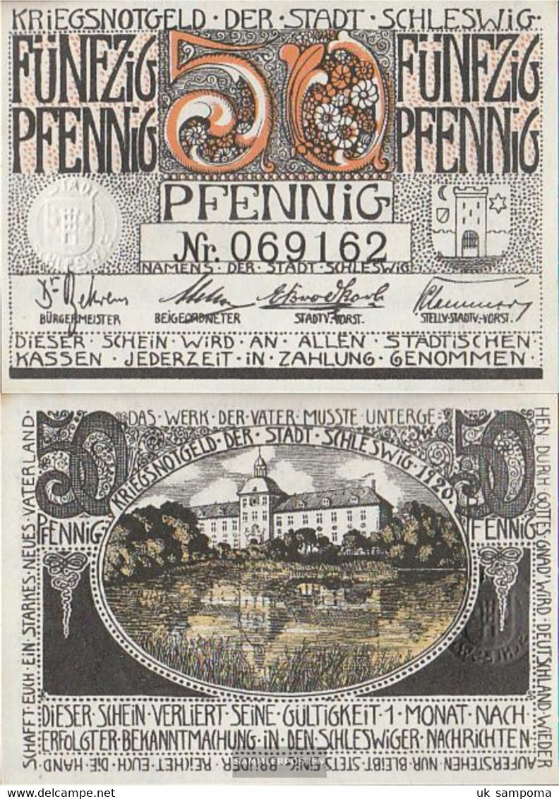 Schleswig Notgeld: 50 Pf Notgeld The City Schleswig Uncirculated 1920 50 Pfennig Schleswig - [11] Local Banknote Issues