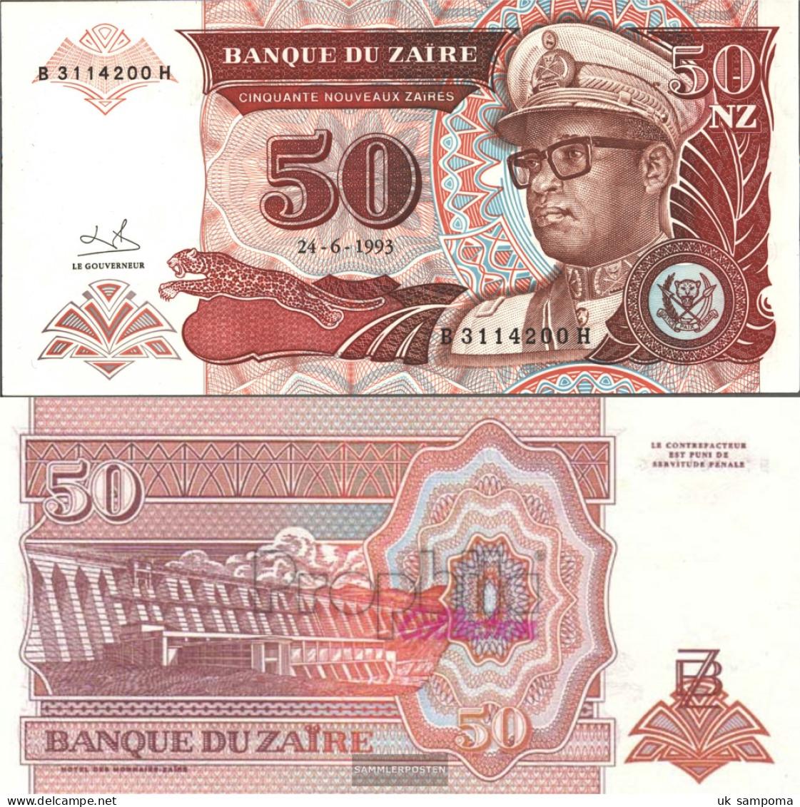 Zairean Zaire Pick-number: 57 Uncirculated 1993 50 Zaires (New) Leopard - Zaire