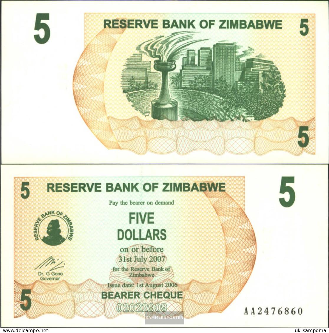 Zimbabwe Pick-number: 38 Uncirculated 2006 5 Dollars - Zimbabwe