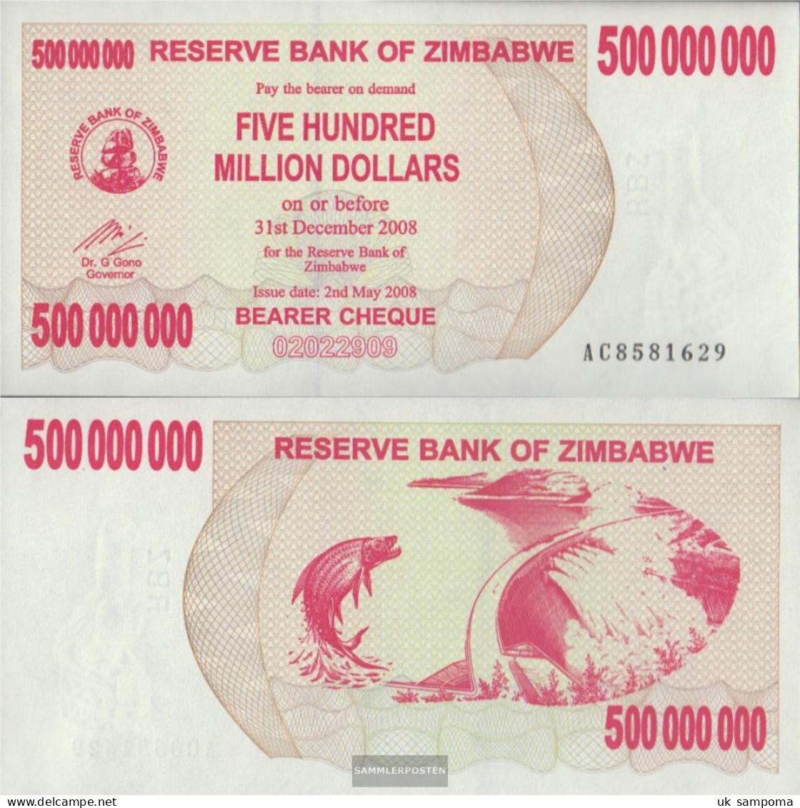 Zimbabwe Pick-number: 60 Uncirculated 2008 500 Million. Dollars - Zimbabwe
