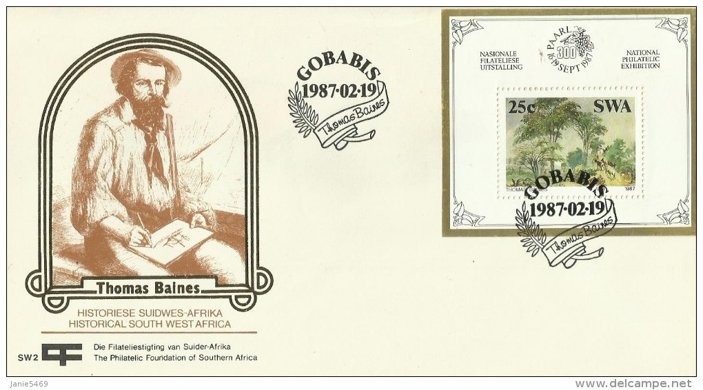 South West Africa SWA 1987 Thomas Balnes  Miniature Sheet FDC - South West Africa (1923-1990)