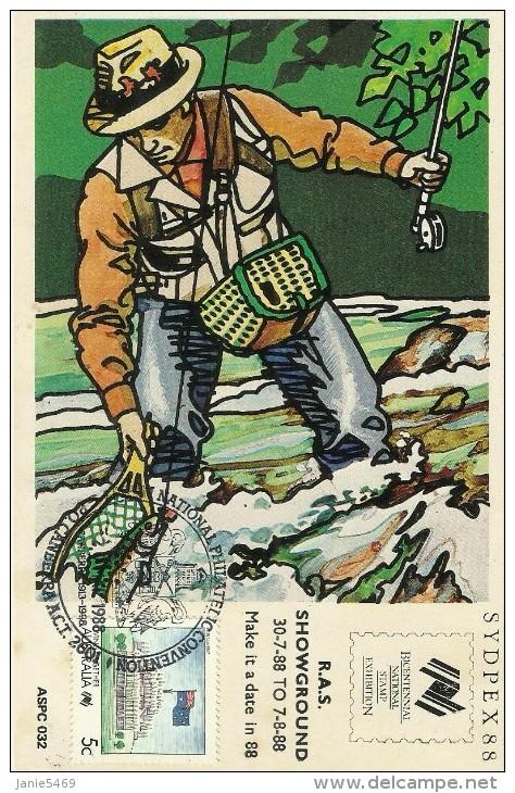 Australia 1988 Sydpex 88 ,Fishing,maximum Card - Maximum Cards