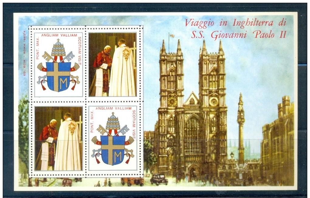 VATICAN CINDERELLA BLOCK 4v 1982 VISIT POPE JOHN PAUL II TO ENGLAND * COAT OF ARMS * MNH - Blokken & Velletjes