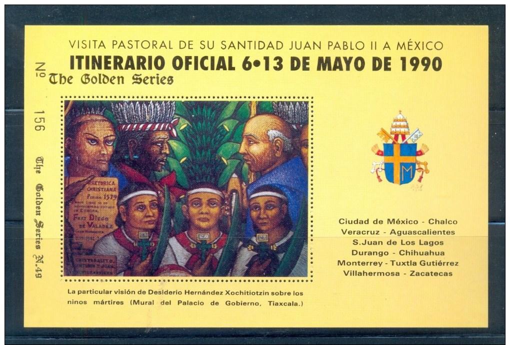 VATICAN CINDERELLA BLOCK 1v 1990 VISIT POPE JOHN PAUL II TO MEXICO * GOLDEN SERIES No 49 * COAT OF ARMS * MNH - Blokken & Velletjes