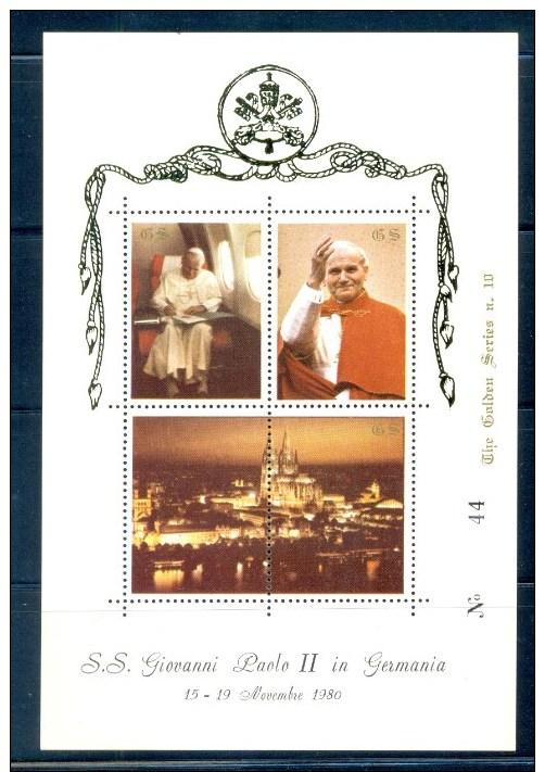 VATICAN CINDERELLA BLOCK 3v 1980 VISIT POPE JOHN PAUL II TO GERMANY * GOLDEN SERIES No 10 * COAT OF ARMS * MNH - Blokken & Velletjes