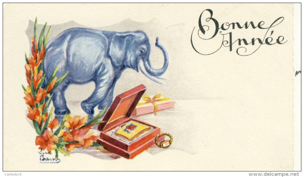 Bonne Année  Eléphant  Fleurs Paquets Cadeaux  Ill Luc Bamby  Mignonette Mini Carte - Éléphants