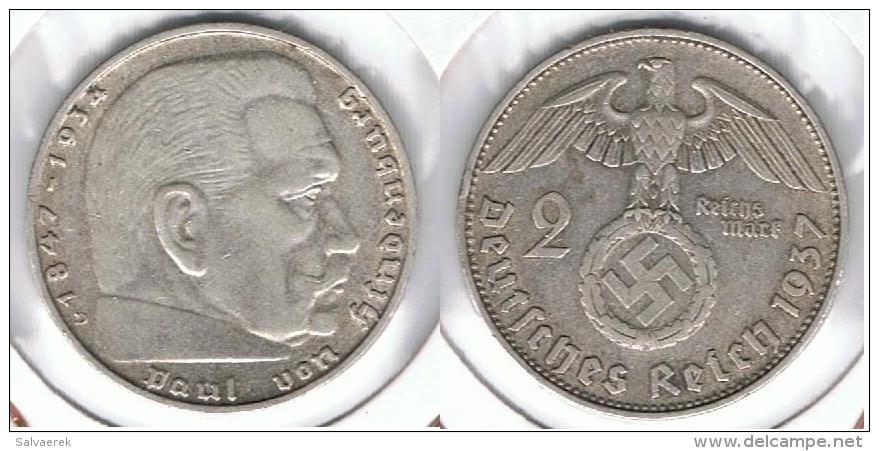 ALEMANIA DEUTSCHES REICH 2 MARK 1937 D  PLATA SILBER. D67 - Sin Clasificación