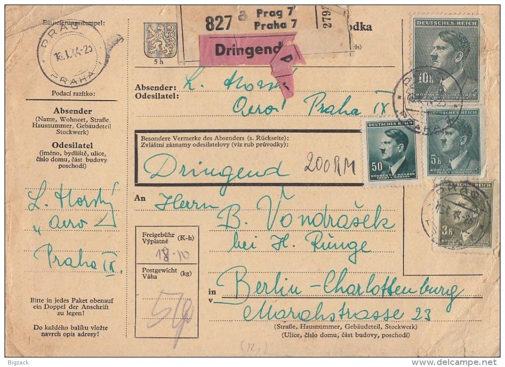 Böhmen & Mähren Paketkarte Mif Minr.92,102,104,107 Prag - Böhmen Und Mähren