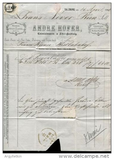 AUSTRIA SALZBURG COFFEE INVOICE REVENUE 1866 - 1918-1945 1st Republic