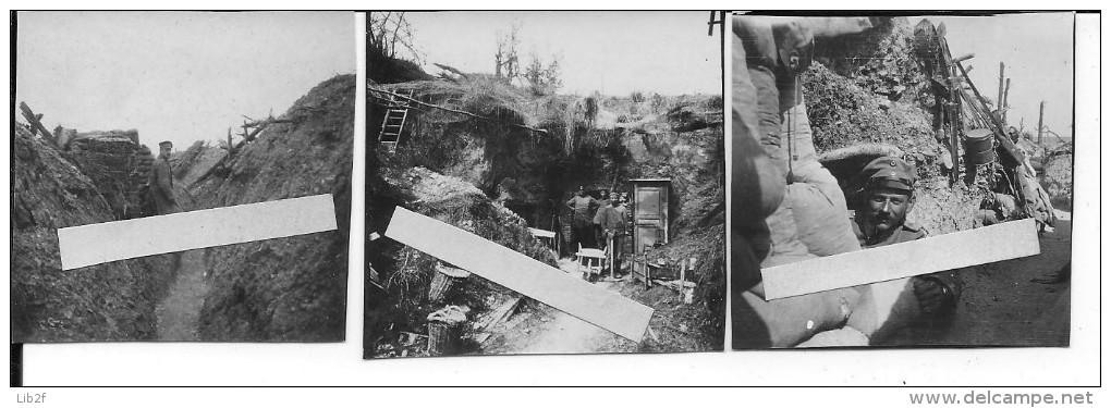 1918 Champagne Lignes Et Abris Allemands Soldats Dans La Tranchée 3 Photos 14-18 1914-1918 Ww1 Wk1 - War, Military