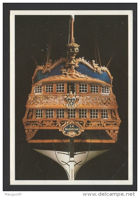 """DF / TRANSPORTS / BATEAUX / VOILIERS / POUPE DU VAISSEAU """"LE MASSIAC"""" / MAQUETTE / MUSÉE DE LA COMPAGNIE DES INDES - Sailing Vessels"""