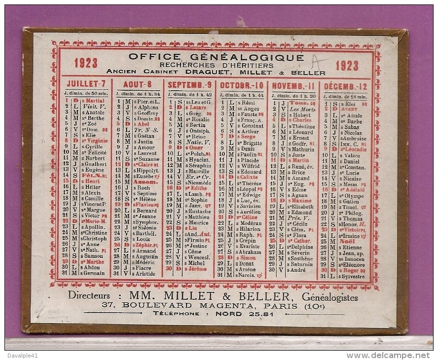 CALENDRIER 1923 OFFICE GENEALOGIQUE   CARTON RIGIDE  BON ETAT - Calendriers