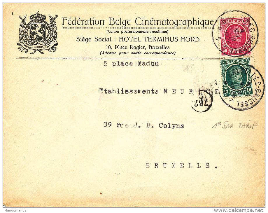 426/23 - CINEMA Belgique - Lettre TP Houyoux BRUXELLES 1 VII 1926 ( 1er Jour Tarif 40 C) - Entete Féd. Belge De Cinéma - 1922-1927 Houyoux