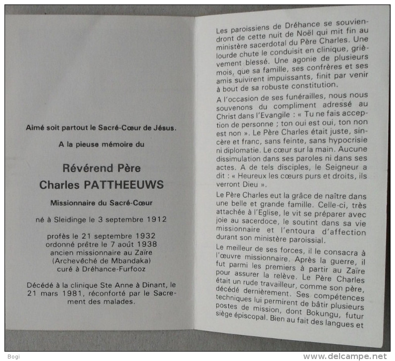 Bidprentje Doodsprentje Révérend Père Charles Pattheeuws Missionaire Sleidinge 1912 - 1981 - Devotion Images