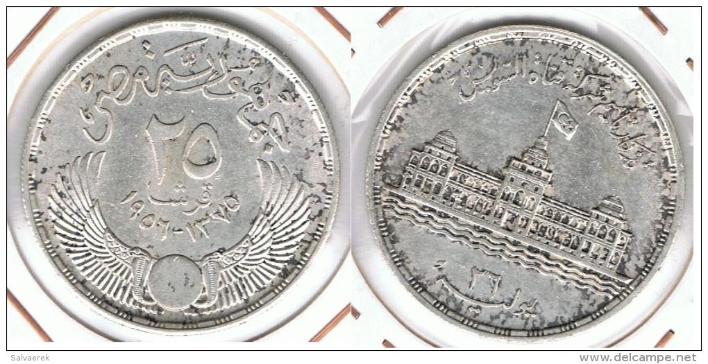 EGIPTO 25 PIASTRAS  1957   PLATA SILVER E1 - Egipto