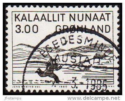 1980. Woodcut By Aron From Kangeq. 3,00 Kr. Black. (Michel: 124) - JF175276 - Groenlandia