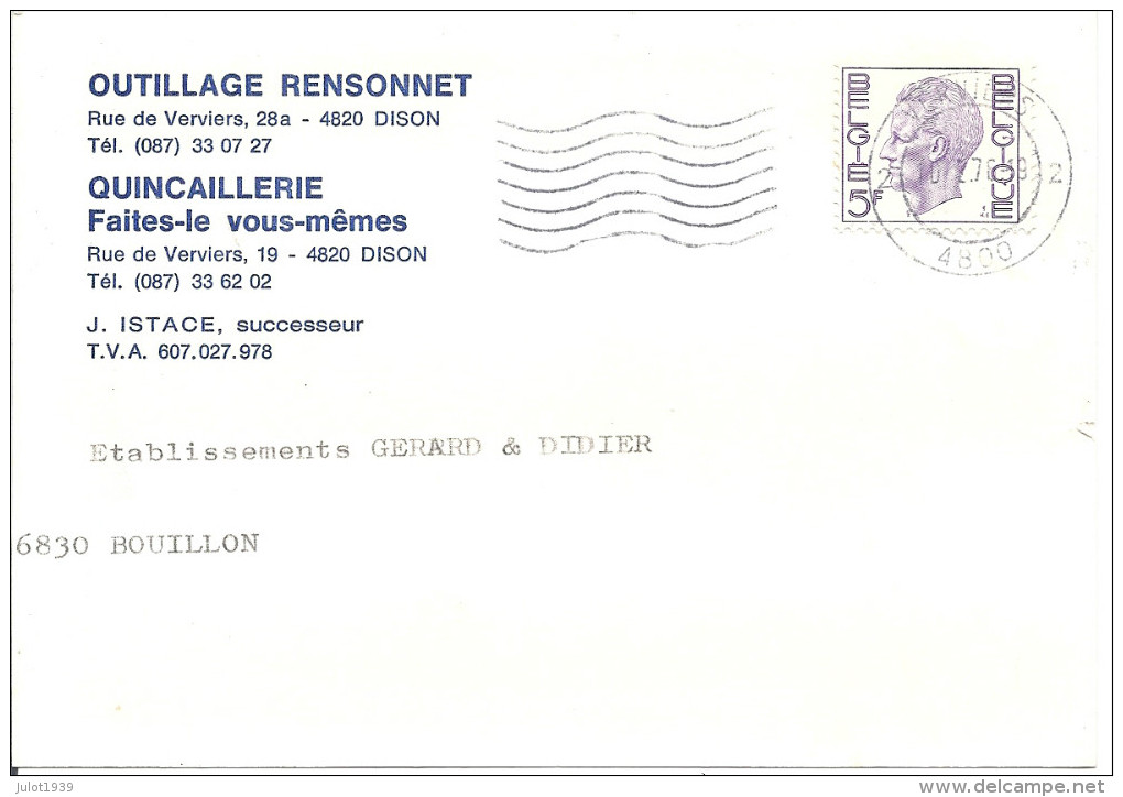 DISON ..-- Outillage RENSONNET ,    J. ISTACE , Successeur . Carte De Commande . - Dison