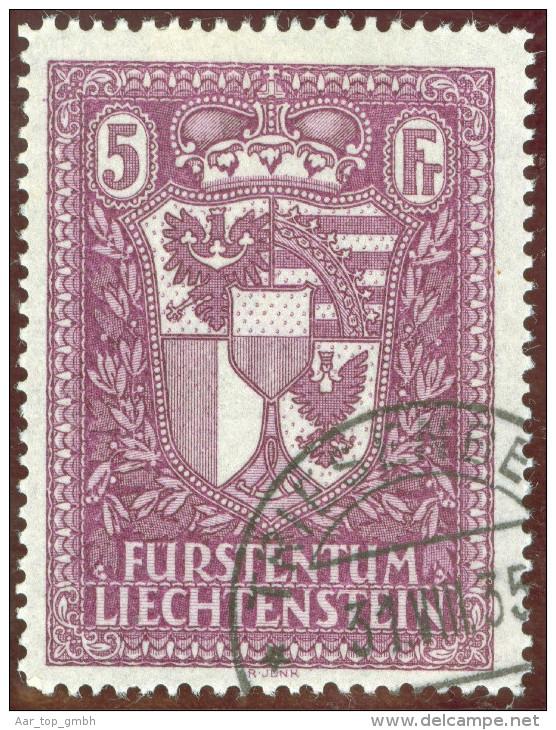 Liechtenstein 1935 Landeswappen 5Fr. Zu#121 Mi#142 Gestempelt - Liechtenstein