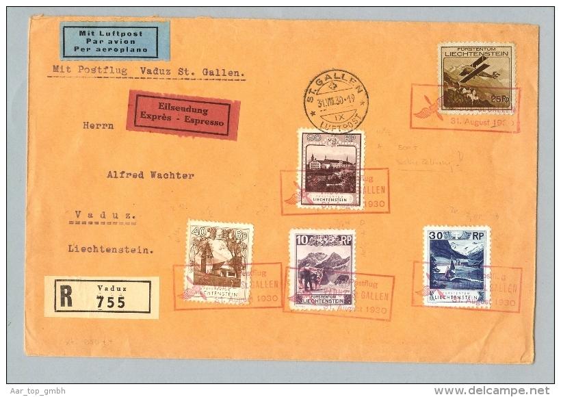 Liechtenstein 1930-08-31 Postflug Vaduz>SG 90Rp Zu#94A - Poste Aérienne