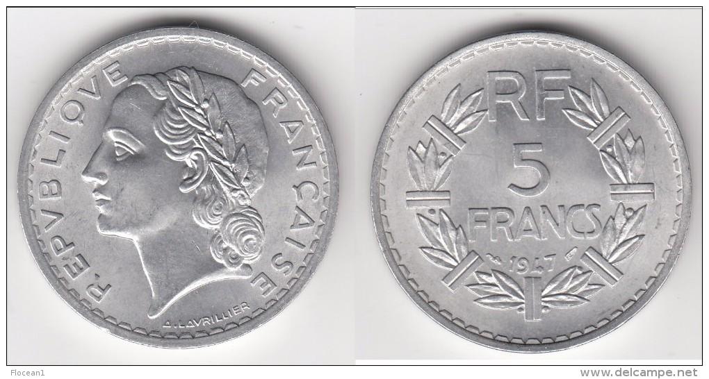 QUALITE **** 5 FRANCS 1947 LAVRILLIER - ALUMINIUM **** EN ACHAT IMMEDIAT !!! - France