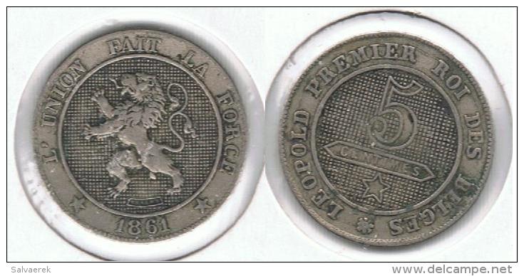 BELGICA 5 CENTIMES  FRANCS 1861 F1 - 03. 5 Céntimos