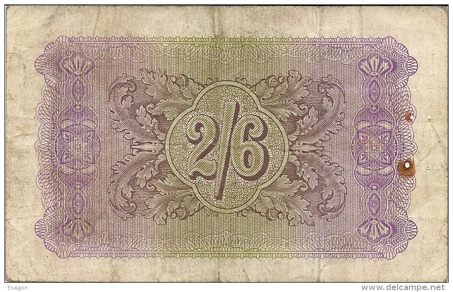 N. 1 Banconota - Occupazione Britannica In Sicilia - TWO SCILLINGS SIX PENCE - BRITISH MILITARY AUTHORIY - 1943 - Emissioni Militari