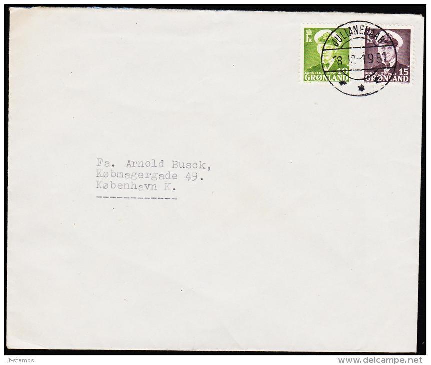 1950. Fr. IX. 10 Øre + 15 ØRE. JULIANEHAAB 18 12 1951. DEN GRØNLANDSKE HANDEL JULIANEHÅB.  (Michel: 30) - JF175514 - Groenlandia