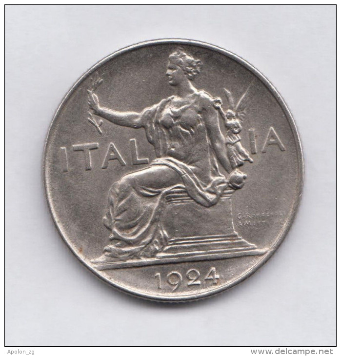 ITALY 1 Lira 1924R  XF+  KM62  HIGH GRADE COIN - 1861-1946 : Kingdom