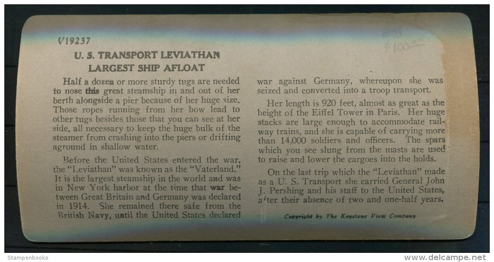 Keystone View Company Stereoscope 'US Transport Leviathan Largest Ship Afloat' - Stereoscopes - Side-by-side Viewers