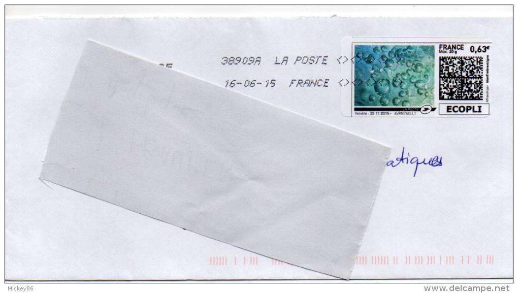 2015---Lettre Avec Vignette  MONTIMBRENLIGNE  Sur Lettre - Marcophilie (Lettres)
