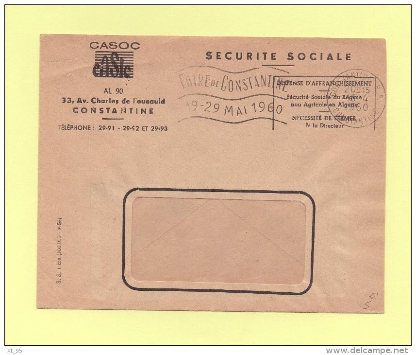 Foire De Constantine - 1960 - Flamme - Franchise Securite Sociale - Algeria (1924-1962)