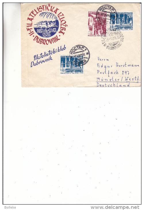 Yougoslavie - Lettre Illustrée De 1955 ° - Oblitération Mostar Et Dubrovnik - Fêtes De L'été - Drapeaux - Covers & Documents