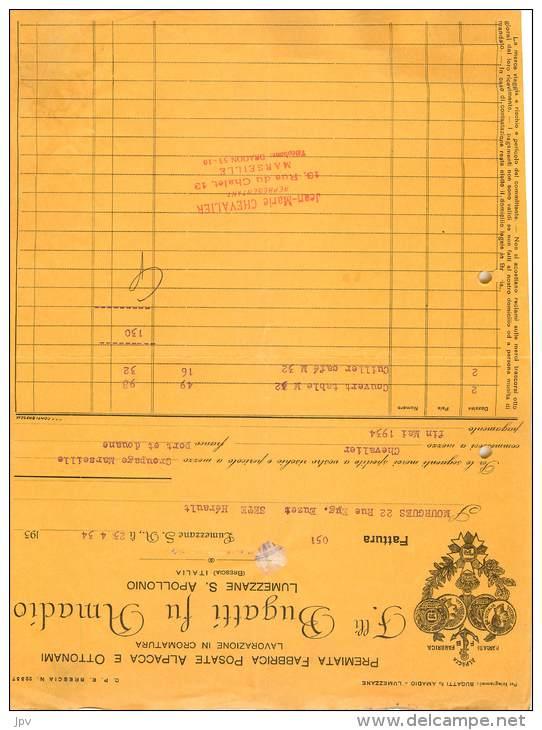 FACTURE LETTRE : LUMEZZANE . FAMILLI BUGATTI FU AMADIO . ALPACA E OTTONAMI . 1934 . - Italia