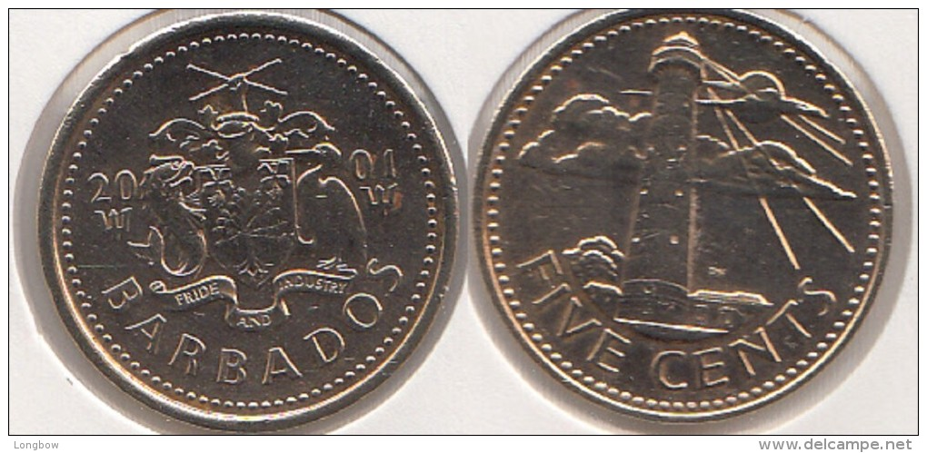 Barbados 5 Cents 2001 Km#11 - Used - Barbades