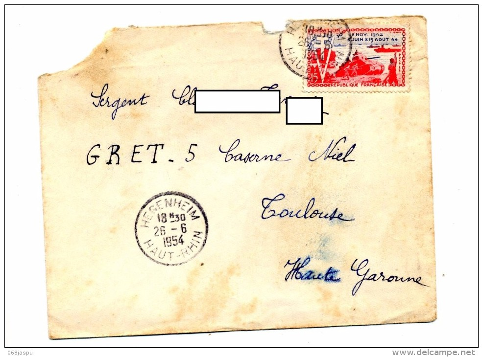 Lettre Cachet Hegenheim 1954 Sur Liberation - Postmark Collection (Covers)