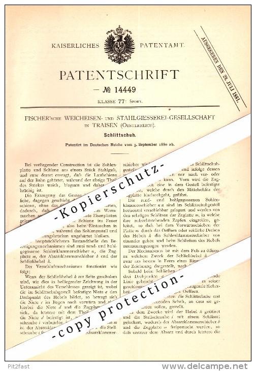 Original Patent - Stahlgiesserei Fischer In Traisen , Niederösterreich , 1880 , Schlittschuhe , Eiskunstlauf , Eislauf ! - Historische Dokumente