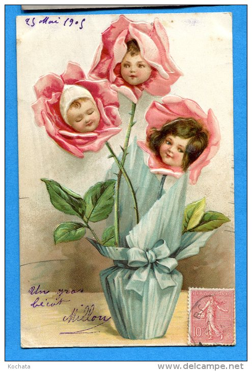 Madd216, Belle Fantaisie, Bouquet De Rose Avec Des Têtes De Bébés, Circulée 1905 - Neonati