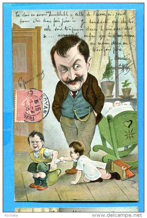 Madd220, Papa, Père Au Foyer, Enfants, Bébés, Précurseur,  Circulée 1905 - Neonati