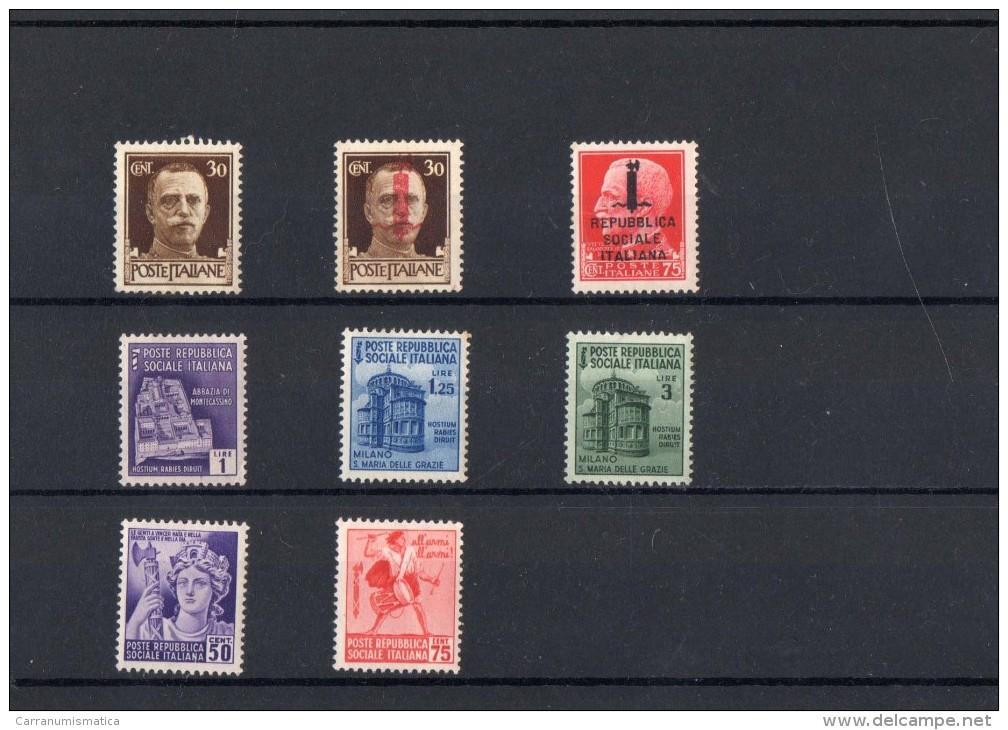ITALIA: Serie Di 8 Francobolli NUOVI - Regno E  Repubblica Sociale Italiana (non Completa) - 4. 1944-45 Repubblica Sociale