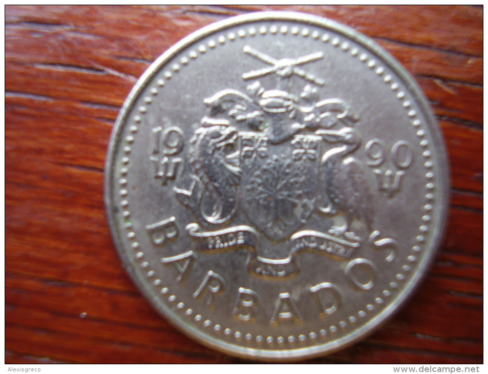 BARBADOS  1990  TWENTY FIVE CENTS  USED COIN In GOOD Condition. - Barbades