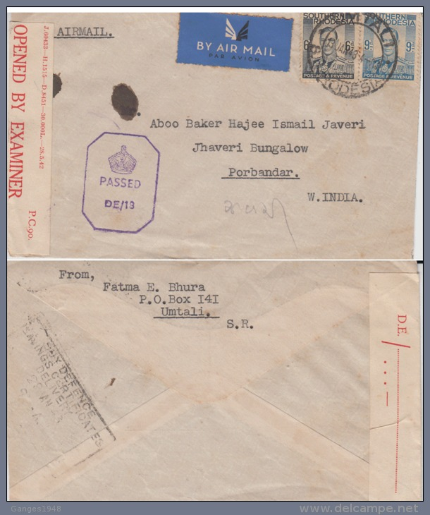 Southern Rhodesia  1943  Censored Cover To India  #  85049 - Südrhodesien (...-1964)