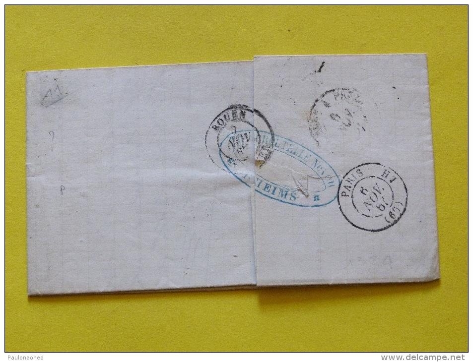 ENVELOPPE  6 NOVEMBRE 1867.  20 C EMPIRE FRANC. - 1849-1876: Période Classique