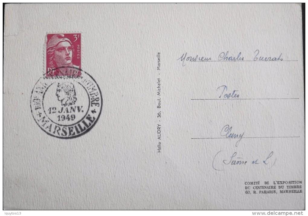 CARTE POSTALE MAXIMUM - Centenaire Du Timbre-Poste Français - Marseille Le 12.01.1949 - - Cartes-Maximum