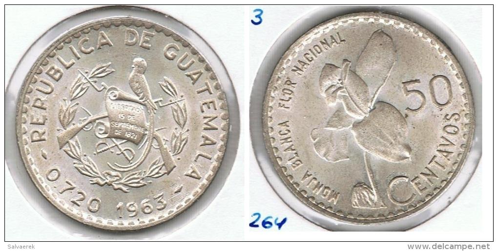 GUATEMALA 50 CENTAVOS PESO 1963 FLOR NACIONAL PLATA SILVER G1 - Guatemala