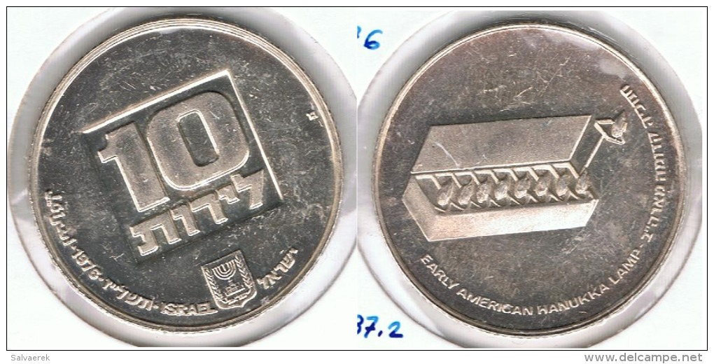 ISRAEL 10 LITOT 1976 LAMPARA PLATA SILVER G1 - Israel